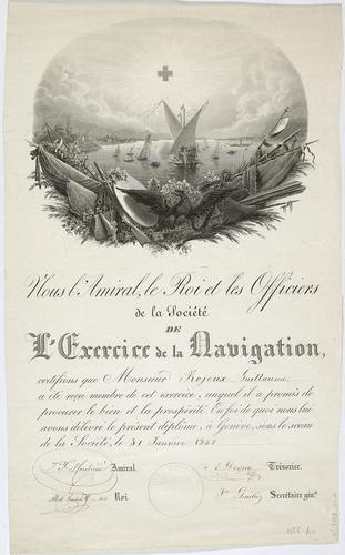 Genève, diplôme de la société de l'exercice de la navigation