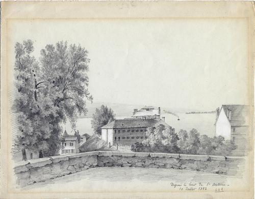 Genève, Rive et le lac vus de la promenade Saint-Antoine