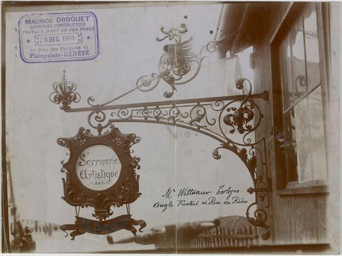 Genève, rue des Pavillons: enseigne commerciale de l'entreprise Droguet