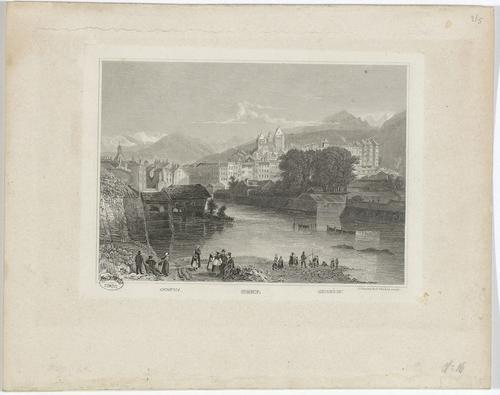 Vue de Genève depuis la rive droite du Rhône