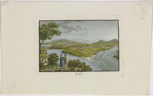 Vue de Genève prise près de la jonction du Rhône et de l'Arve