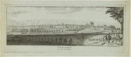 Genève, vue prise de le rive gauche du lac