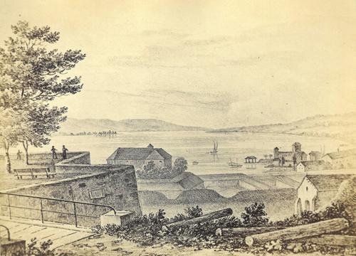 Genève, promenade Saint-Antoine: vue sur le lac et les Eaux-Vives (vers 1840)
