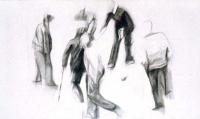 Vignette 4 - Titre : Joueurs de boules et parties de pétanque