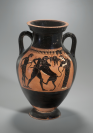 Amphore à tableaux, Héraclès combattant le lion de Némée entre Athéna et Iolaos