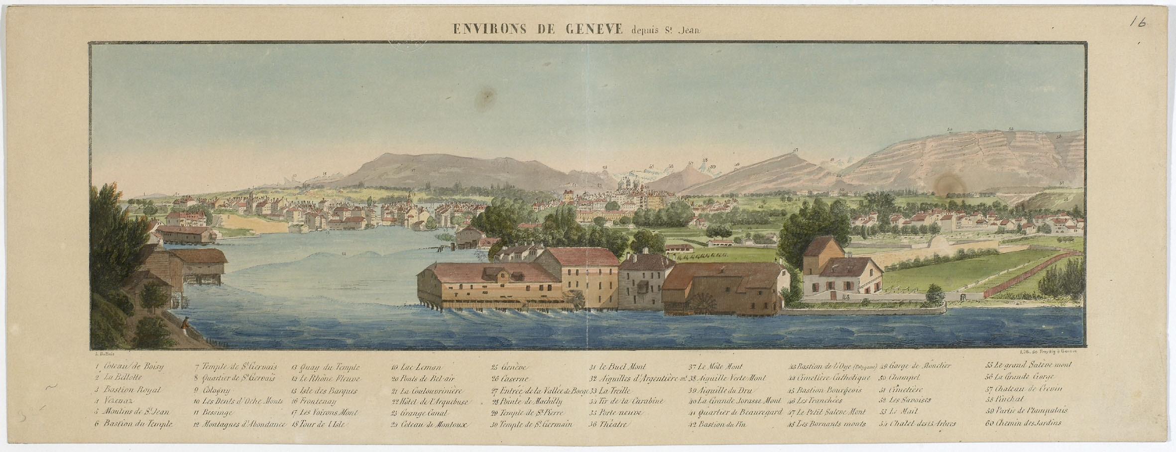 Genève, vue générale de la ville depuis Saint-Jean