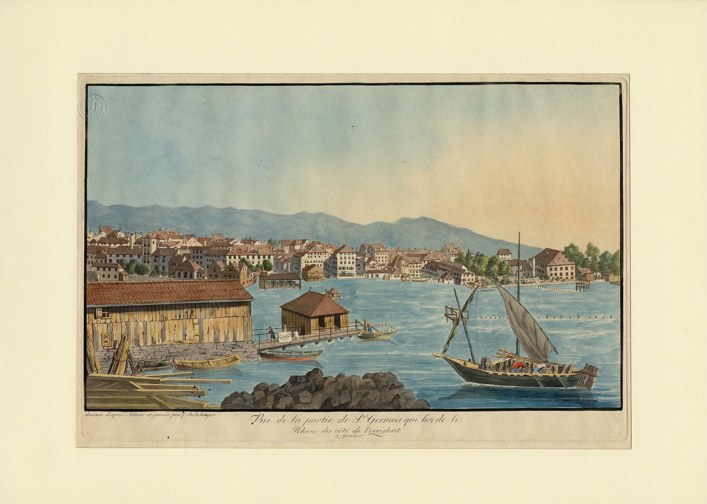 Genève, vue de la partie de Saint-Gervais qui borde le Rhône