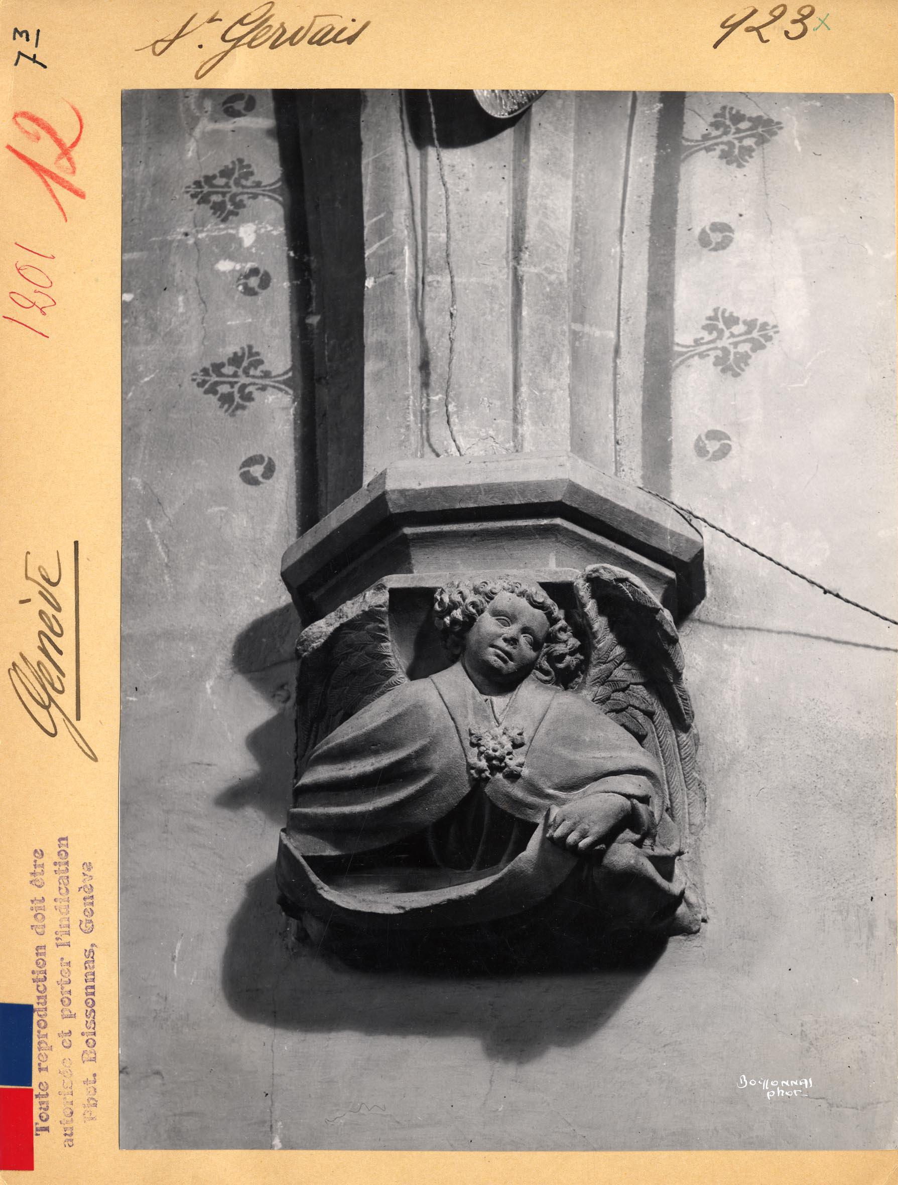 Genève, temple Saint-Gervais: intérieur (cul-de-lampe)
