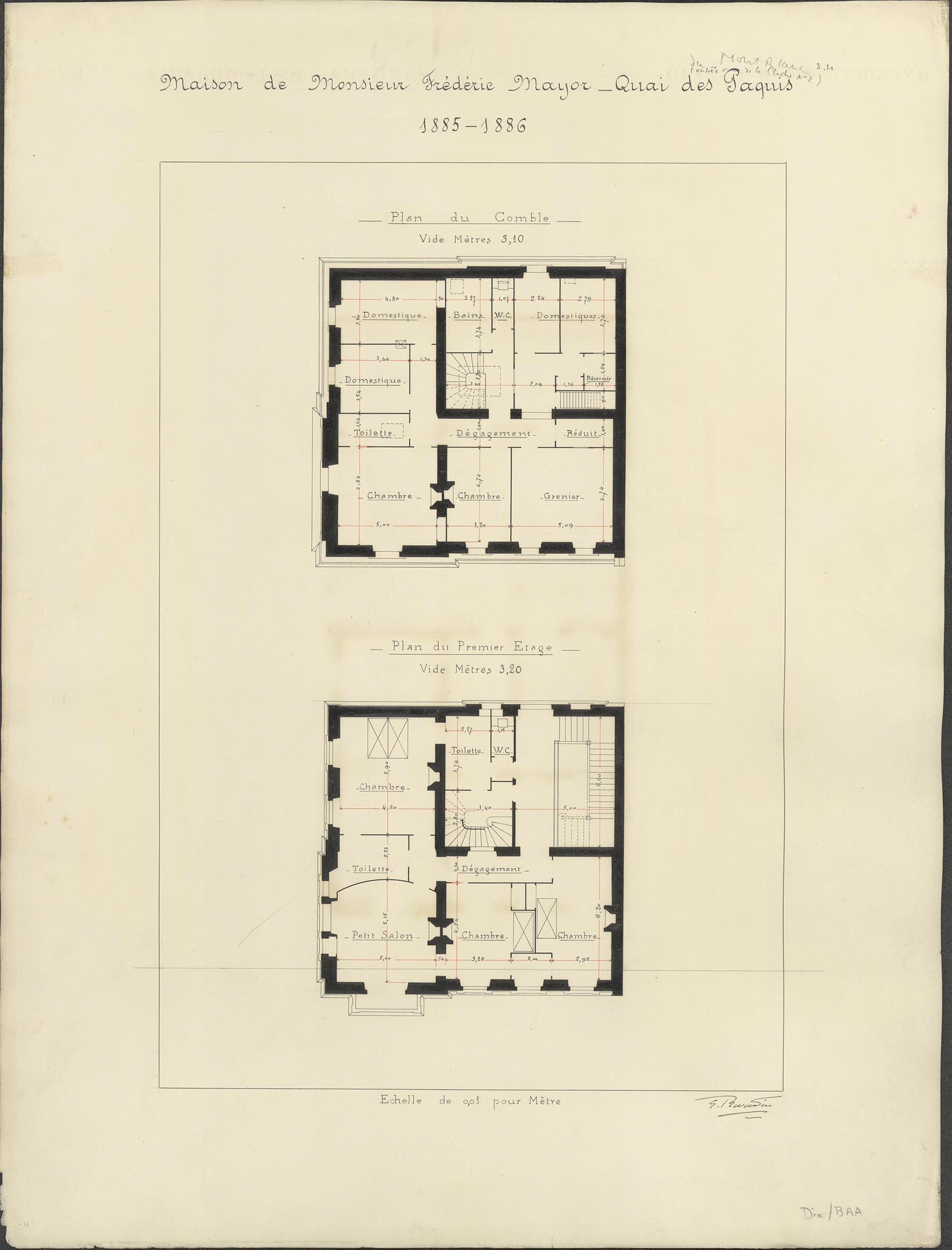 Genève, quai des Pâquis: maison de Monsieur F. Mayor (dessin d'architecte)