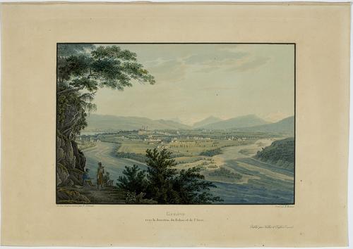 Genève, vue vers la jonction du Rhône et de l'Arve