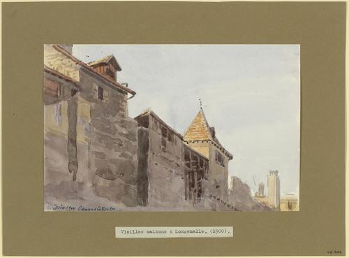 Genève, haut des façades de vieilles maisons à Longemalle