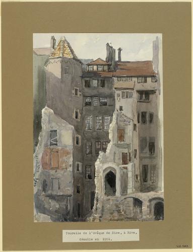 Genève, tourelle de l'Evêque de Nice à Rive lors de sa démolition