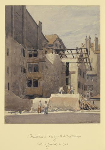 Genève, démolition de l'auberge de la Croix fédérale à Saint-Gervais