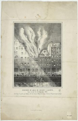 Genève, l'incendie du quai du Seujet en 1864