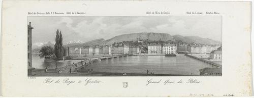 Genève, vue de la ville depuis la rive droite