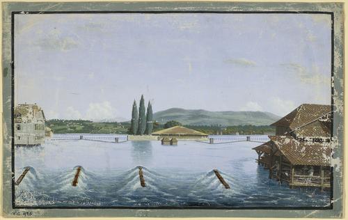 Genève, l'île des Barques et des moulins sur le Rhône