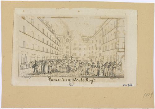 Genève, place du Molard: réclame commerciale pour le remède Le Roy