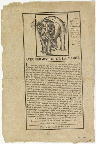 Genève, affiche annonçant l'arrivée d'un éléphant sur la place Bel-Air