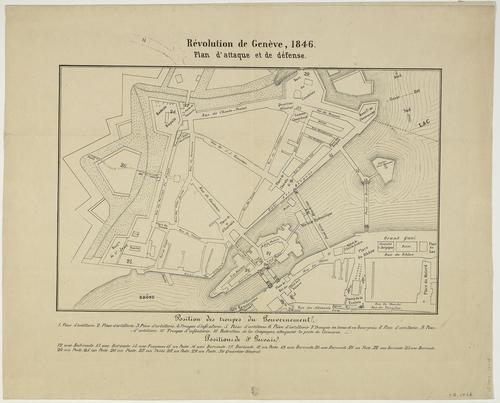 Genève, plan de la ville avec les positions des troupes lors de la révolution de 1846