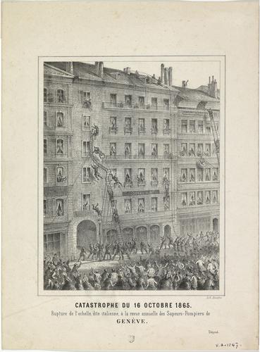 Genève, rupture de l'échelle à la revue des pompiers du 16.10.1865
