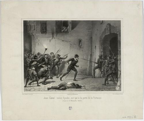 Genève, porte de la Tertasse: Jean Canal, ancien syndic est tué la nuit du 12.12.1602