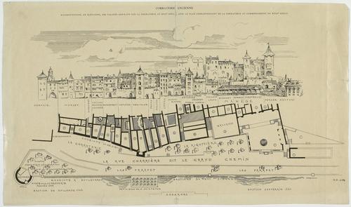 Genève, rue de la Corraterie: reconstitution au 17e siècle et au début du 18e siècle