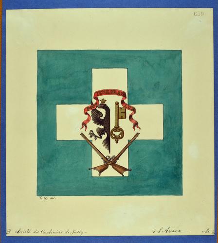 Drapeau genevois, société des carabiniers de Jussy