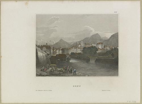 Genève, vue de la ville depuis le pied des falaises de Saint-Jean