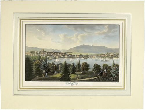 Genève, vue générale de la ville et de la rade