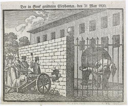 Genève, éléphant abattu le 31.05.1820