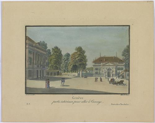 Genève, la porte Neuve avec le théâtre des Bastions