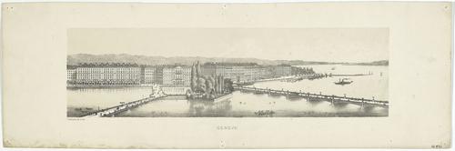 Genève, l'île Rousseau et la rive droite depuis le Grand quai