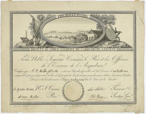 Genève, diplôme de la Société du noble excercice l'arquebuse