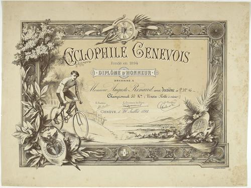 Genève, diplôme d'honneur du cyclophile genevois