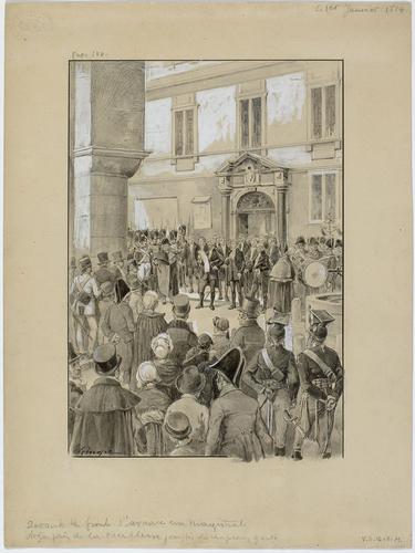 Genève, lecture publique de la proclamation d'indépendance devant l'Hôtel de Ville
