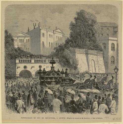 Genève, rue de la Corraterie: cortège funèbre du duc de Brunswick