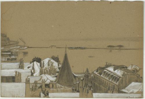 Genève, vue de la rade depuis un immeuble situé dans le quartier de l'ancienne rue Toutes-Ames