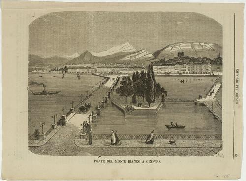 Genève, le pont du Mont-blanc, l'île Rousseau et la rive gauche