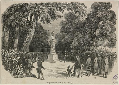 Genève, promenade des Bastions: inauguration du buste de M. De Candolle