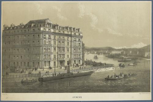 Genève, quai du Mont-blanc: hôtel de la Paix (vue imaginaire)