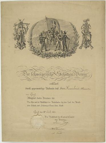 Genève, diplôme de la société de tir à l'arbalète