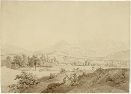 Genève, vue sur la vallée et les Alpes de Chambésy