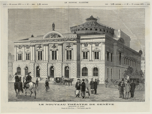 """Genève, place de Neuve: image tirée du """"Journal illustré"""""""