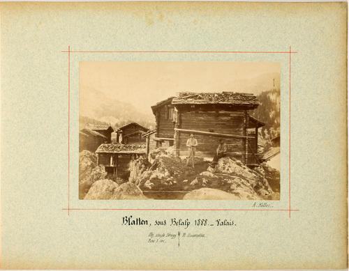 Blatten, deux hommes devant un chalet