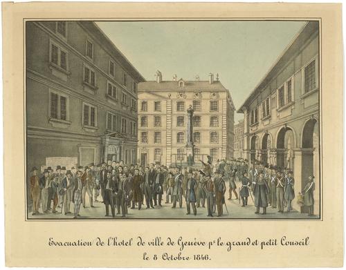 Genève, évacuation de l'Hôtel de Ville par le Grand et Petit Conseil le 08.10.1846