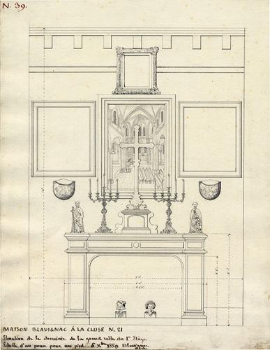 Genève, rue de la Tour: maison Blavignac à la Cluse numéro 21 (projet de décor et de cheminée pour la grande salle du bureau de Blavignac au premier étage)