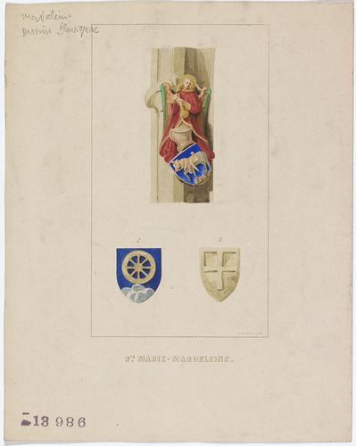 Genève, temple de la Madeleine: armoiries sculptées