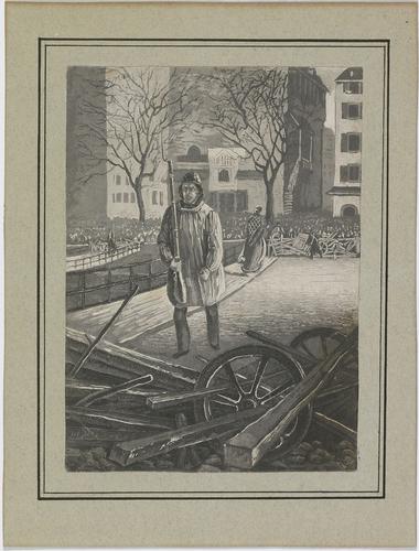 Genève, barricades sur les ponts de l'Ile lors du conflit du 13 au 14.02.1843