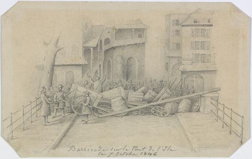Genève, barricades sur les ponts de l'Ile lors de la révolution du 07.10.1846