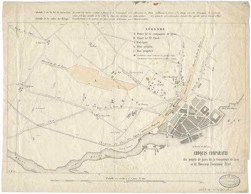 Genève, plan comparatif des projets de gares de la Compagnie de Lyon et de l'ingénieur Etzel